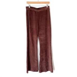 Molly Green- Brown Ribbed Velvet Flare Pants